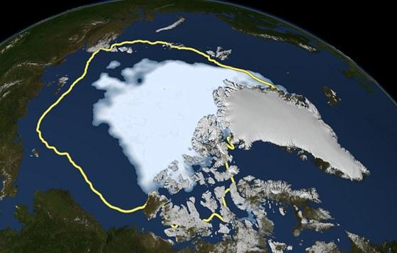 Mapa ledu v Arktidě k 16.  září 2012. Žlutá čára naznačuje, kde končíval led v