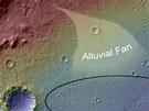 Topografie oblasti, kterou vozítko Curiosity zkoumá. Nachází se mezi severním