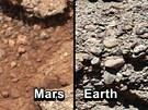 Porovnání snímků z Marsu a Země ukazuje na podobnost mezi oblázky.