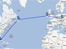 Mapka trasy osudného letu: Praha - Shannon - Gander - Havana.