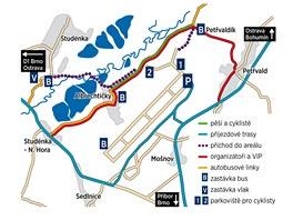 Mapka p��jezdov�ch tras. Mod�e jsou cesty pro automobily, zelen� komunikace pro