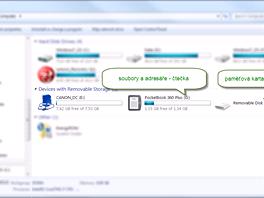 Práce se soubory je jednoduchá, čtečka se hlásí jako dvě diskové jednotky