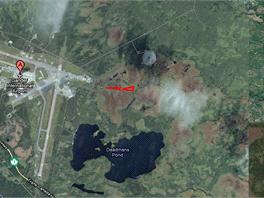 Letecký pohled na ganderské letiště, kde v roce 1967 došlo k nehodě letadla