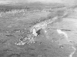 Letecký pohled na místo nehody Il-18 ČSA v Ganderu.