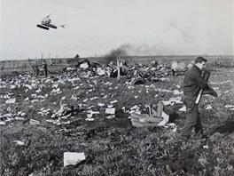 Trosky letounu Il-18 a průběh záchranných prací.