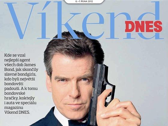 Titulní strana magazínu Víkend DNES na téma James Bond - Pierce Brosnan