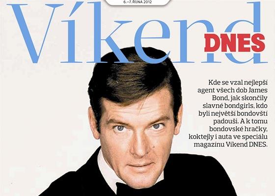 Titulní strana magazínu Víkend DNES na téma James Bond - Roger Moore