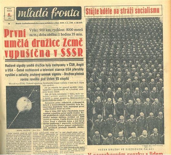 Titulní strana z šestého října 1957. Zveřejněný model družice vůbec neodpovídá