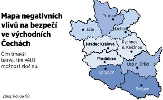 Tato mapa sestavená na základě policejních údajů ukazuje, na kterých místech