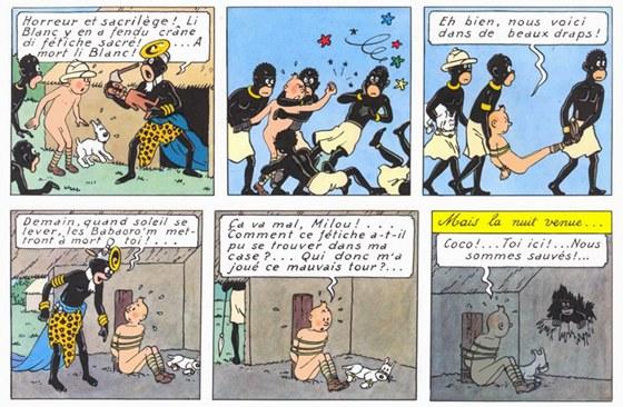 Ukázka z francouzského vydání komiksu Tintin v Kongu