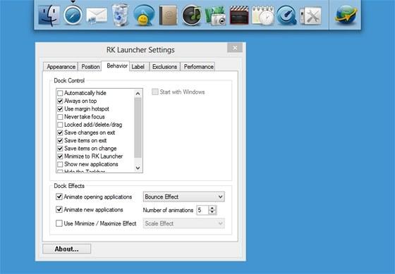 Panel RK Launcher můžete umístit na kteroukoli hranu obrazovky a pohodlně z něj