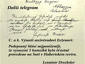 Z tohoto telegramu arcivévoda Evžen zjistil, že první pětice kamzíků z Alp už