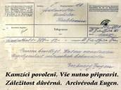Telegram arcivévody Evžena, ve kterém oznámil povolení přesunu prvních kamzíků