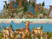 Svět on-line hry World of WarCraft (dolní obrázek) ve hře Minecraft (horní