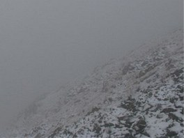 První sníh na Studniční hoře (7. 10. 2012).