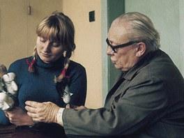 Karel Zeman s dcerou Ludmilou p�i pr�ci