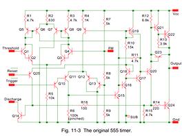 Schéma původního čipu 555