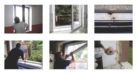 1) Okenní křídla starých oken postupně vysadíme. 2) Demontovaná okenní křídla