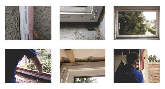 1) Před osazením oken provedeme nalepení parotěsných pásek na okenní rám. 2)