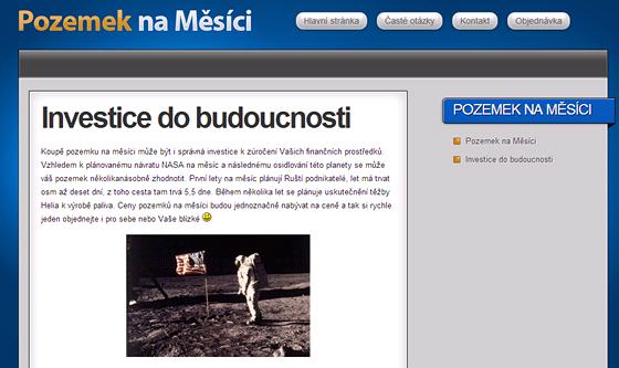 Podle Lunarní amabasády prodávají majitelé webu Měsíční pozemky.cz  falešné