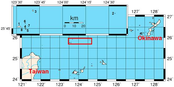 Sporné ostrovy Senkaku (japonsky)/Diaoyu (čínsky), o které se hádají Japonci s