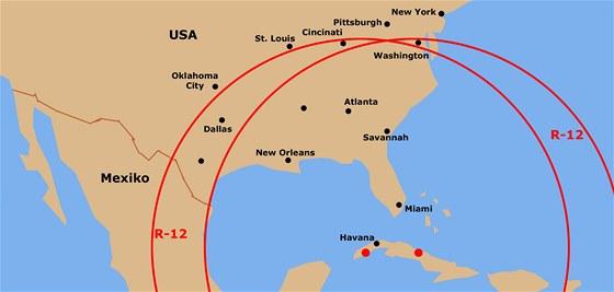 Nákres skutečně ohroženého území USA sovětskými raketami R-12 ke dni 29. října