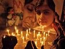 Modlitba na podporu postřelené Malalaj Júsufzaiové  pákistánském městě Hyderabád (14. října 2012)