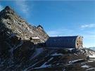 Horská bouda Stüdlhütte ve výšce 2801 m. Odtud se vyráží na vrchol obtížnější...