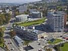Budova Tržnice se nachází poblíž zlínského centra u příjezdové cesty od