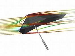 Díky aerodynamice se deštník nepřevrátí.