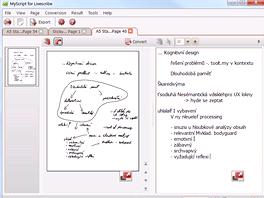 Převod rukopisu na text v aplikaci třetí strany - Myscript