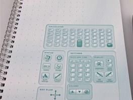 Uvnitř bloku je také kalkulačka nebo ikonky umožňující veškerá nastavení pera,