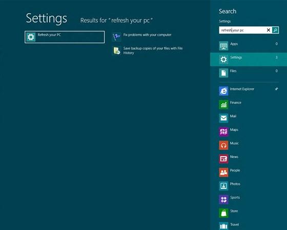 Windows 8 - vyhledávání