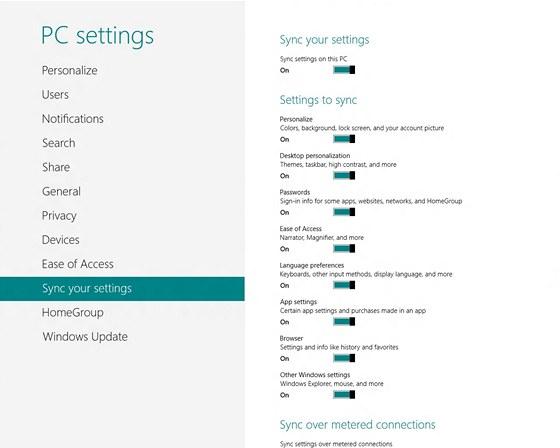 Windows 8 - synchronizace nastavení