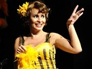 Monika Absolonová na derniéře muzikálu Funny Girl v pražské Hybernii.