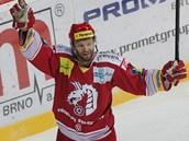 Třinecký útočník Martin Růžička se raduje z dalšího gólu.