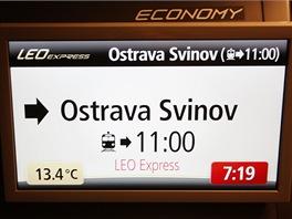 Vnitřní informační systém LEO Expressu zobrazuje základní údaje o jízdě vlaku....