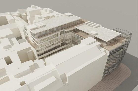 V plánu je zbourat s nárožním domem dvorní přístavby hotelu Jalta i torzo bývalé Akciové tiskárny, z níž zbyla jen část fasády.