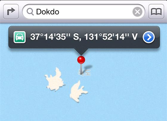 Souostroví Dokdo na mapových podkladech pro iOS 6.