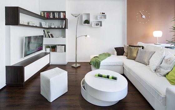 """Obývací pokoj – podlahová krytina vinylová s """"V"""" drážkou (Moduleo), nábytková..."""