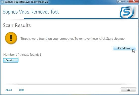Jednoúčelový antivir Sophos Virus Removal Tool loví rootkity, maskující se za