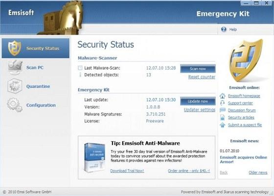 Emsisoft Free Emergency Kit je možné spouštět v klasickém grafickém rozhraní,