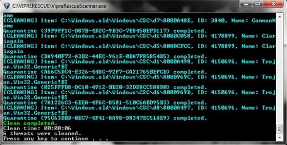 U antivirového programu Vipre Rescue nečekejte grafické rozhraní, pouze rychlou
