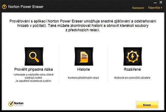 Norton Power Eraser má jen několik ovládacích prvků, svůj hlavní úkol ovšem