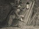 Atentátník v akci. Než odpálil sudy, byl však Guy Fawkes odhalen královými lidmi.