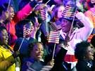Radost ve volebním táboře Baracka Obamy v Chicagu. (7. listopadu 2012)