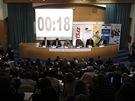 Debata prezidentských kandidátů o evropské vizi v sále FSV UK v Praze (8.