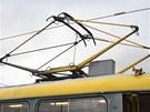 Tramvaje typu T3 měly ještě klasický pantograf pro sběr proudu.