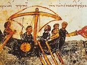 Obraz použití ohně v námořním boji z byzantského rukopisu vzniklého v 10.