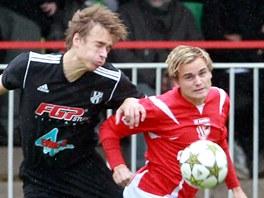 Momentka z utkání druhé fotbalové ligy mezi Pardubicemi a HFK Olomouc (v